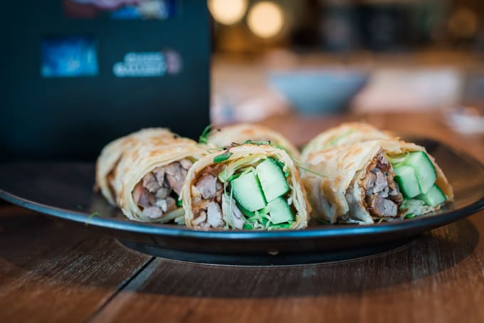 Cucumber with duck in roti at Chefs Gallery