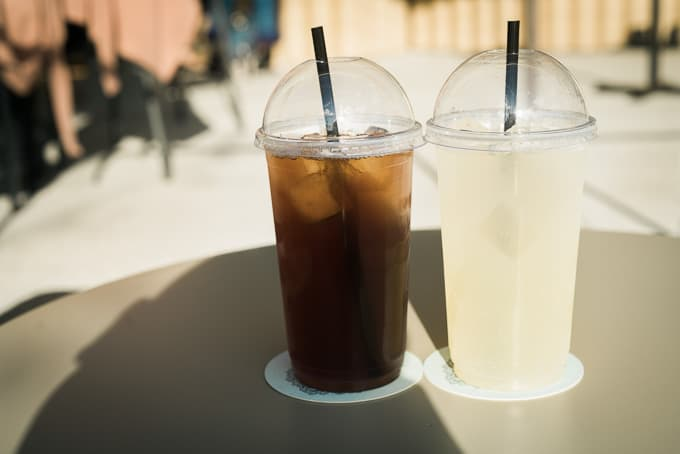 Iced tea and lemonade at Belle's