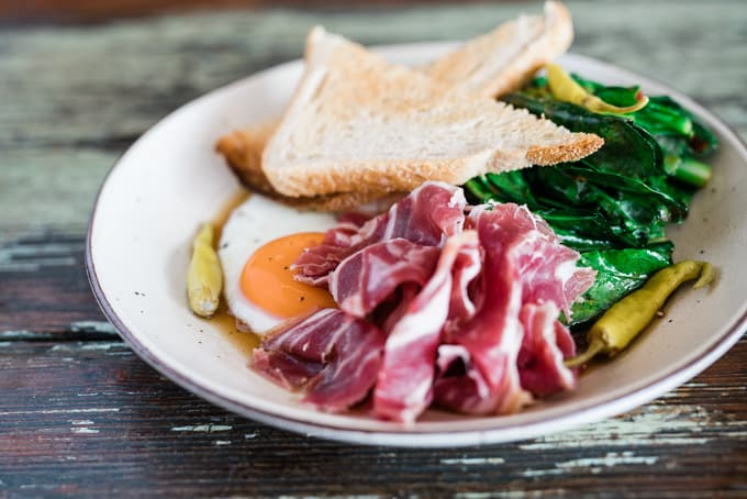 Green veg, ham and eggs at The Baron