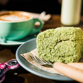 Matca lamington at Cafe Kentaro