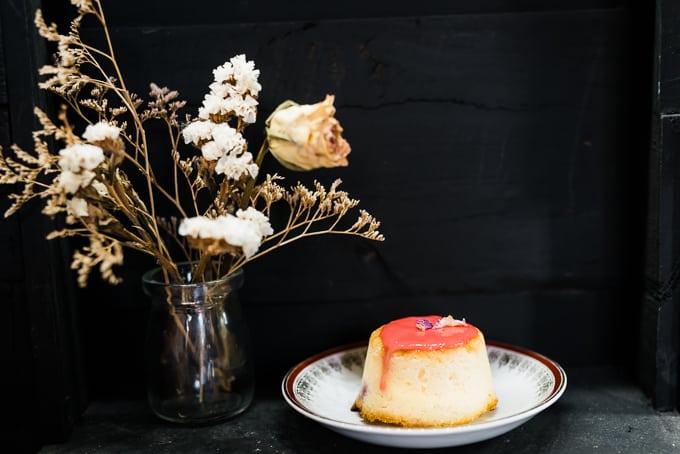 Coconut, yuzu and raspberry cake at Manmaru