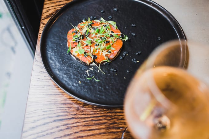 Citrus-cured alpine king trout at Eastside Kitchen and Bar