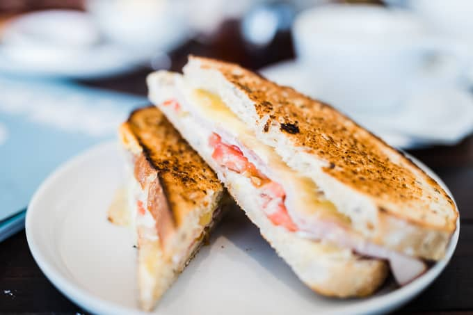 World famous smoked ham toastie at Frothers Espresso