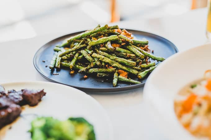 Long Green Beans and Pork Mince at Hulu Dining King Street Wharf